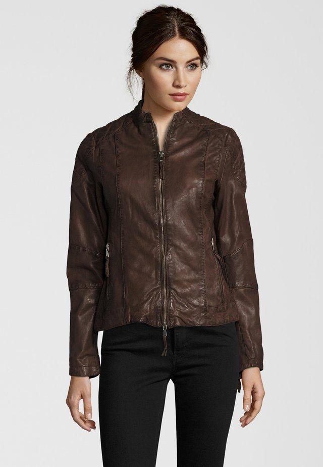 MIT STEHKRAGEN - Leather jacket - brown