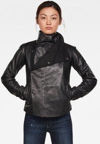 G-Star - COLLAR SLIM - Leather jacket - dk black - 0