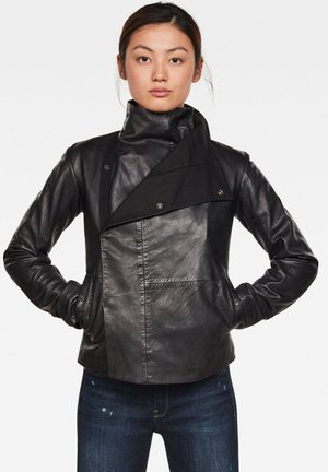 COLLAR SLIM - Leather jacket - dk black