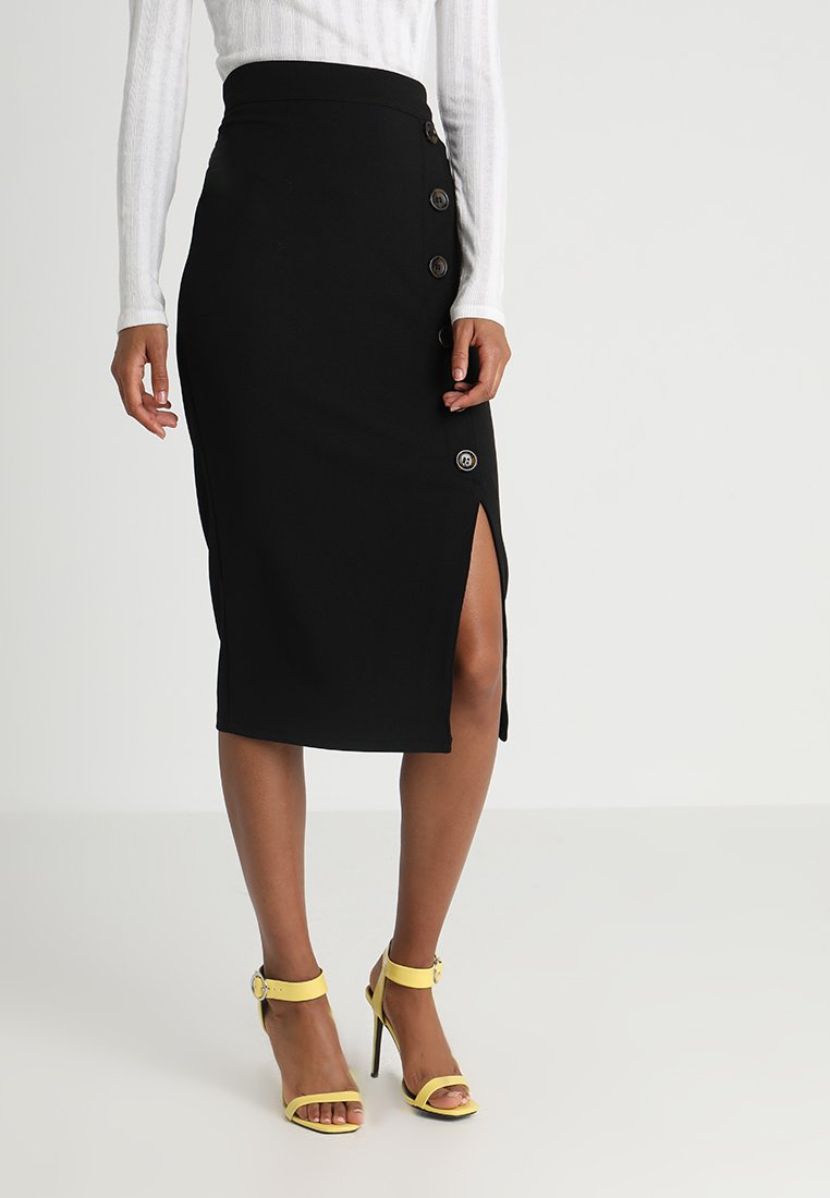 WAL G. - TORTOISE BUTTON SKIRT - Jupe crayon - black
