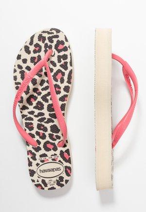 SLIM FIT FLATFORM ANIMALS - Pool shoes - beige