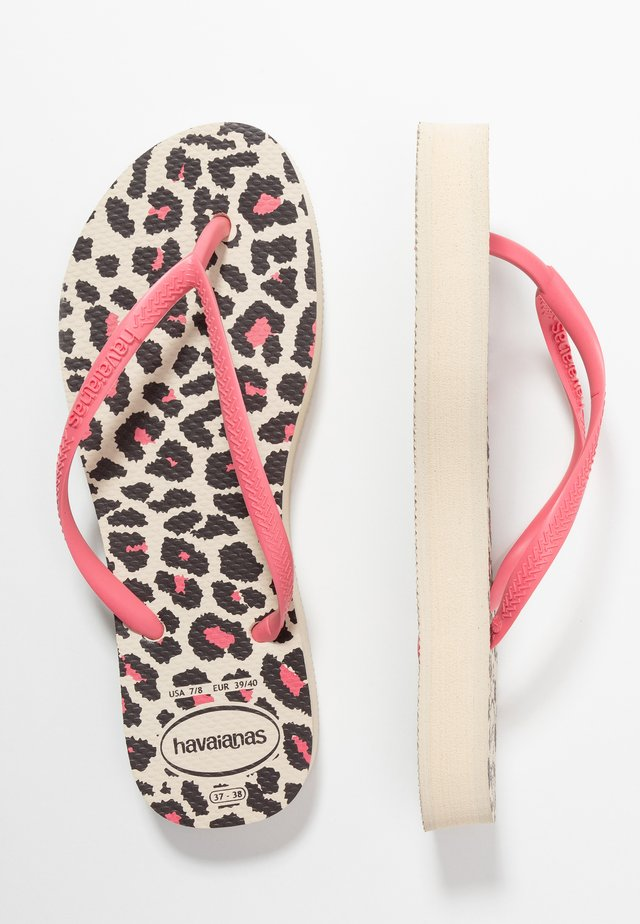 SLIM FIT FLATFORM ANIMALS - Japonki kąpielowe - beige