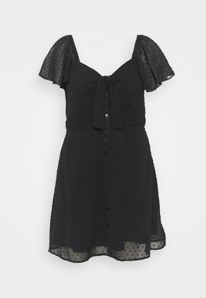 KNOT DOBBY SKATER DRESS - Vestito estivo - black