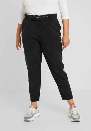 HIGH WAISTED BELTED TROUSERS - Trousers - black