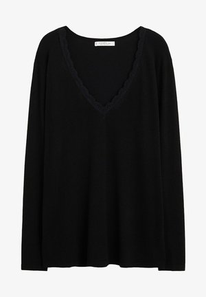 LACE DETAIL - Sweatshirt - black
