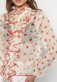 Lost Ink - RUFFLE FRONT PRINTED BLOUSE - Bluser - multi - 5