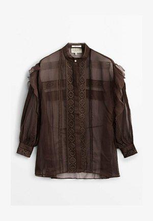 MIT STICKEREI  - Blouse - brown