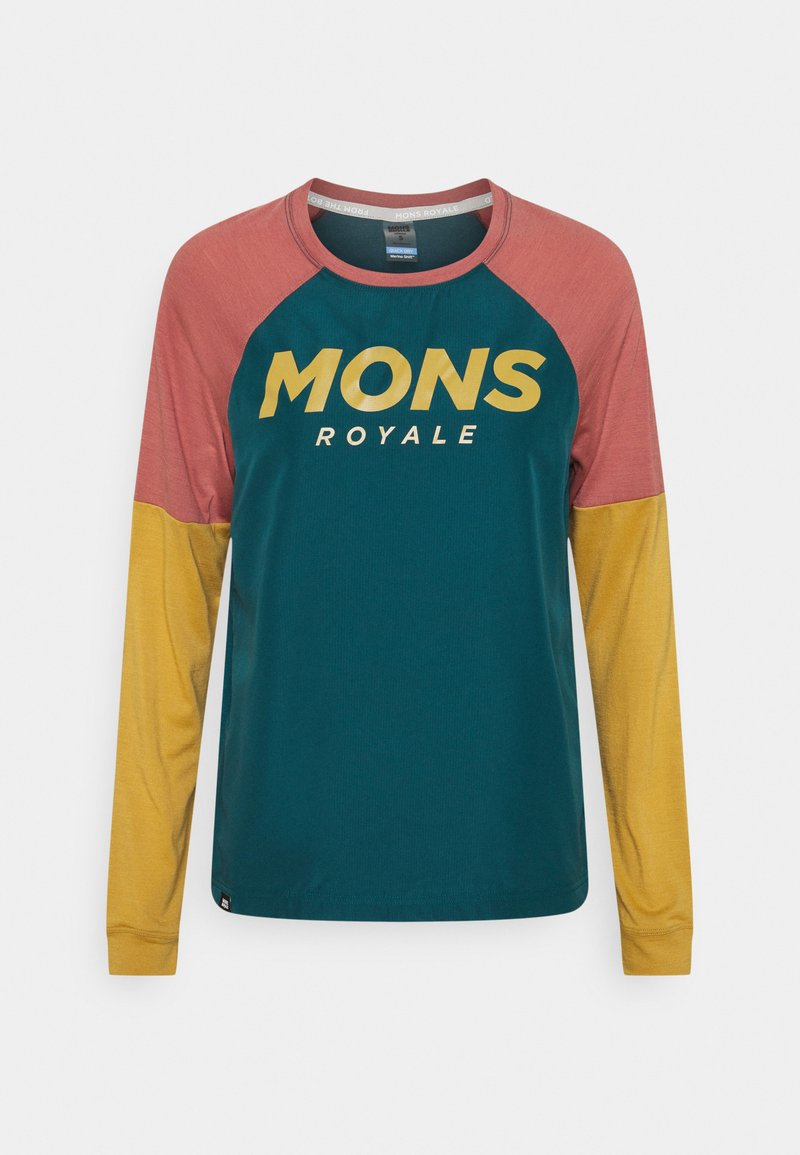 Mons Royale - TARN FREERIDE WIND  - Langarmshirt - deep teal/pink clay/honey