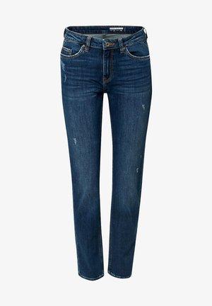 KNÖCHELLANGE JEANS MIT USED-EFFEKTEN - Slim fit jeans - blue medium washed