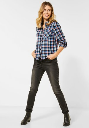 MIT KAROMUSTER - Button-down blouse - blau