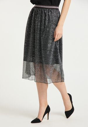 MIDIROCK - Pleated skirt - schwarz silber