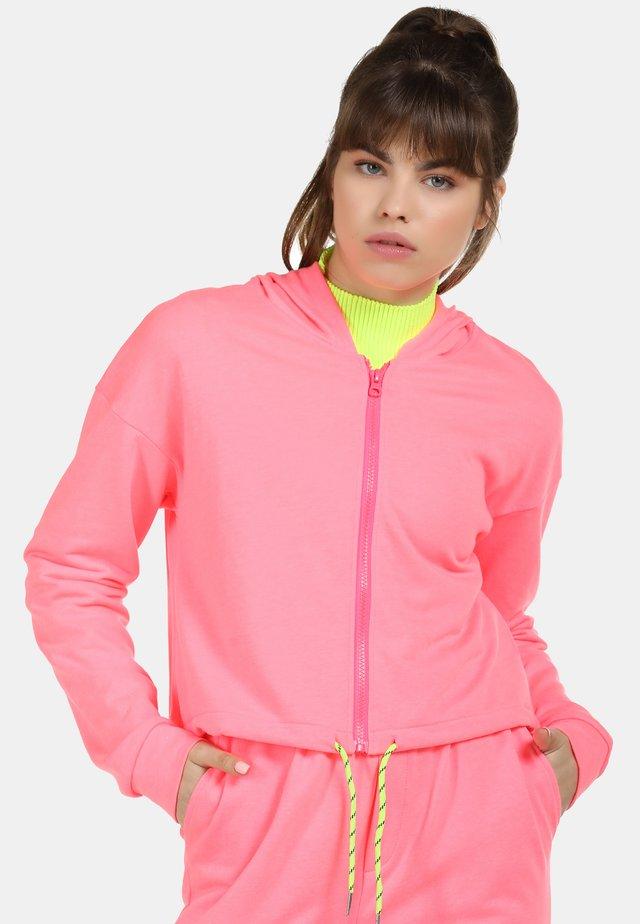 Hoodie met rits - neon pink