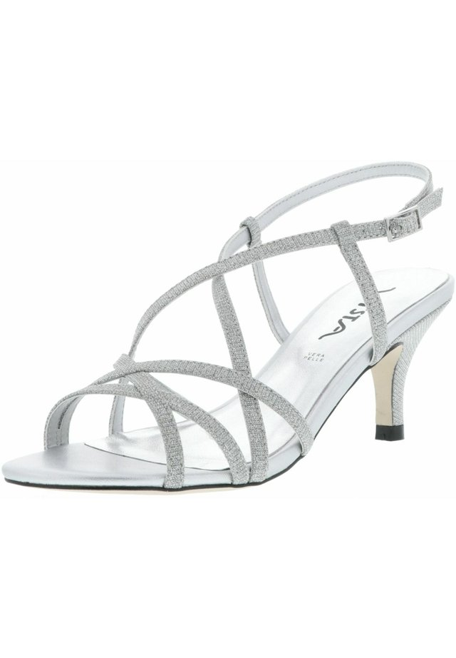 GLITZEROPTIK  - High heeled sandals - silber