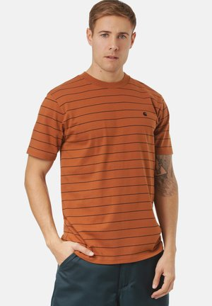 DENTON - Print T-shirt - denton stripe, rum / black