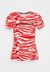 Calvin Klein - ZEBRA PRINT STRETCH TEE - Print T-shirt - red/white - 4