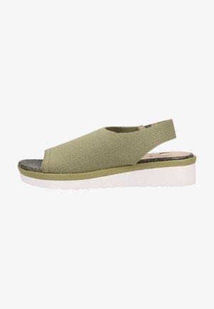 Sandalen met sleehak - lt. kaki