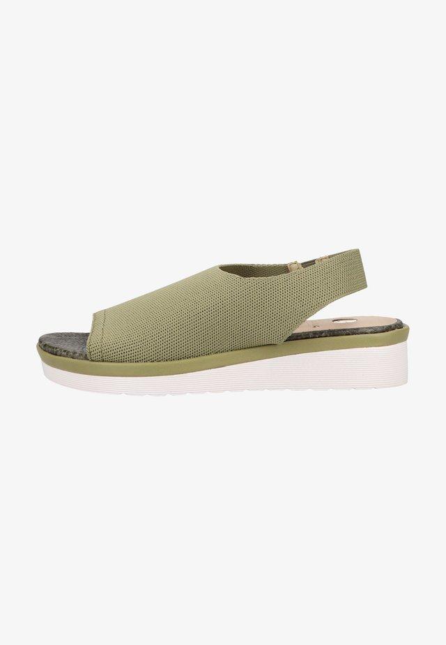 Sandales compensées - lt. kaki