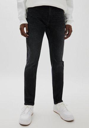 MIT RISSEN - Jeans slim fit - mottled dark grey