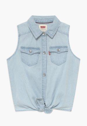 TIE FRONT - Košile - bleached denim