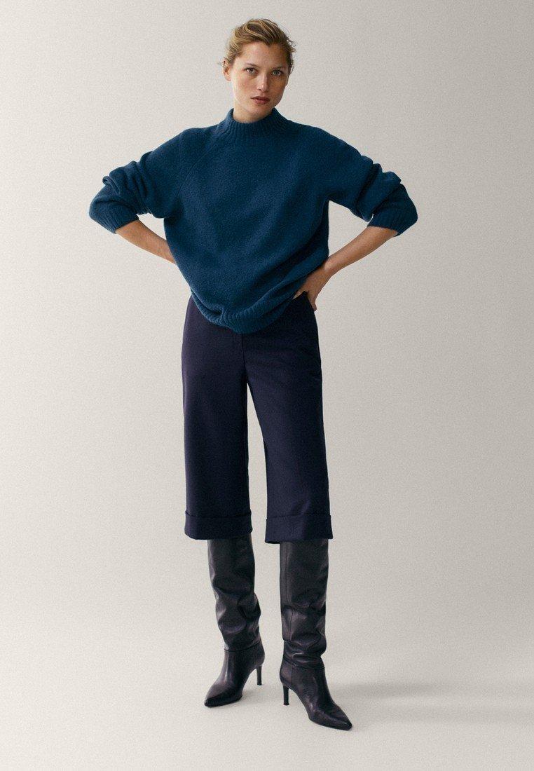 Massimo Dutti - MIT STEHKRAGEN - Jumper - blue