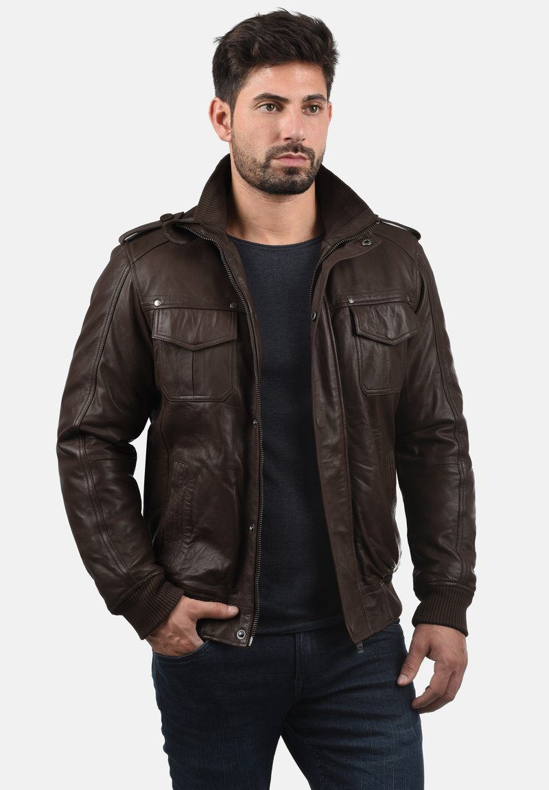 Solid - CAMASH - Leather jacket - brown