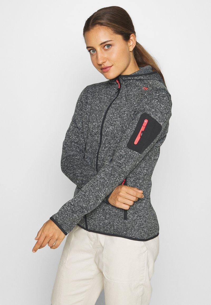 CMP - WOMAN JACKET FIX HOOD - Fleece jacket - nero melange/red fluo