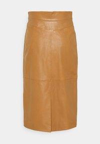 Alberta Ferretti - PIECES SKIRT - Leather skirt - brown - 1