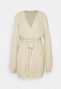 Missguided Tall - OVERSIZED BELTED BALLOON SLEEVE CARDIGAN - Cardigan - oatmeal - 0