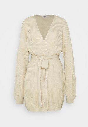 OVERSIZED BELTED BALLOON SLEEVE CARDIGAN - Gilet - oatmeal