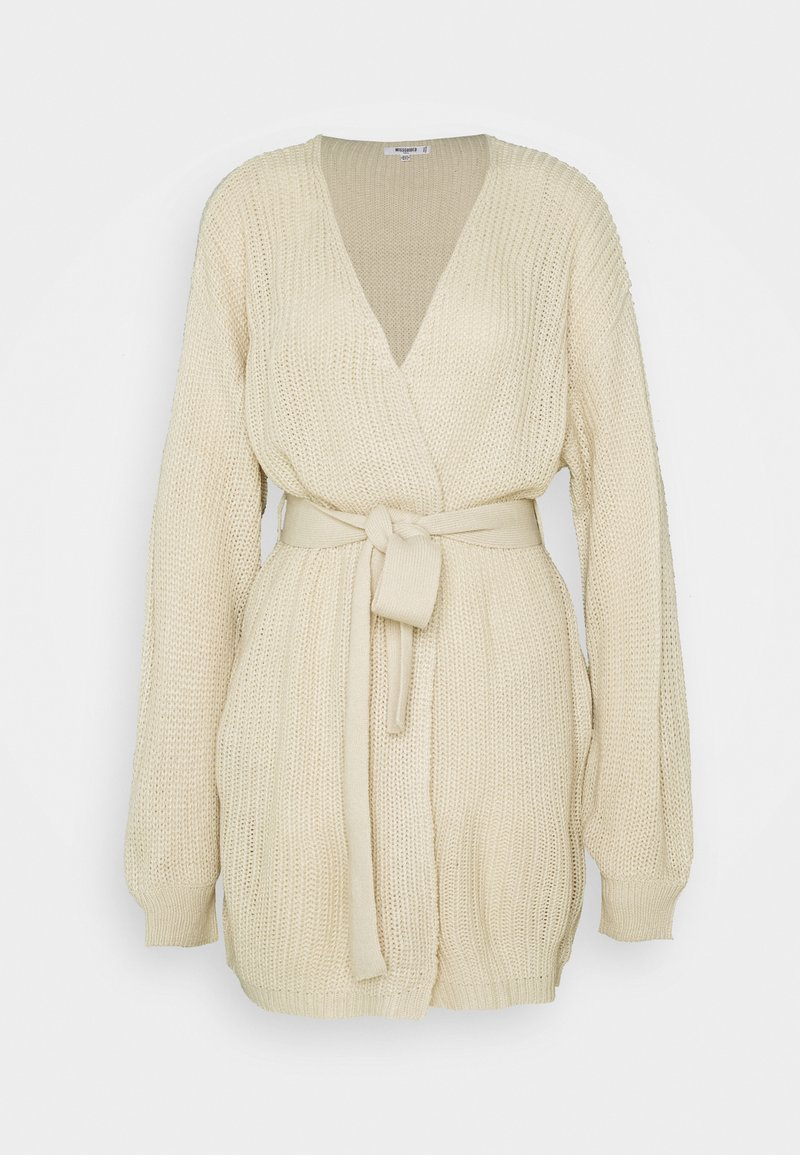Missguided Tall - OVERSIZED BELTED BALLOON SLEEVE CARDIGAN - Cardigan - oatmeal