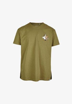 Print T-shirt - mud olive