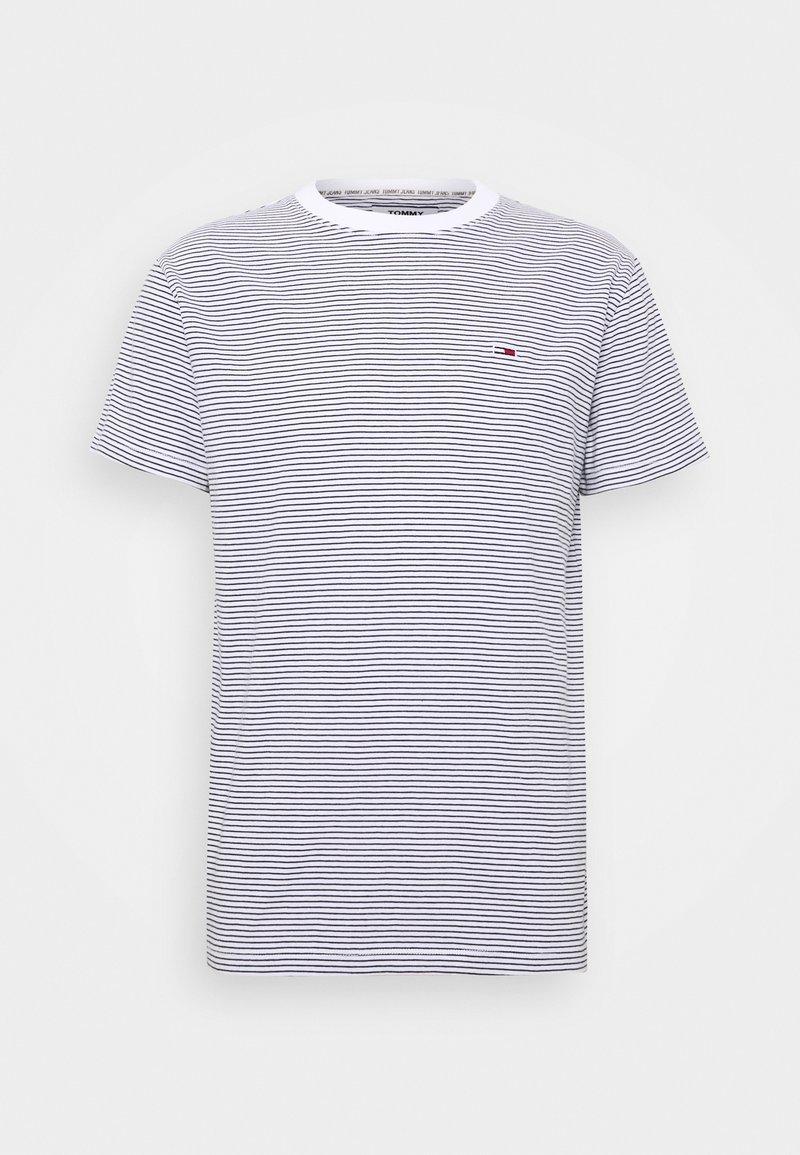 Tommy Jeans - BASIC STRIPE TEE - T-shirt z nadrukiem - white/twilight navy