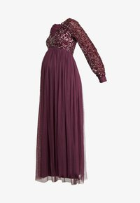 Maya Deluxe Maternity - V NECK BISHOP SLEEVE DELICATE SEQUIN DRESS - Vestido de fiesta - berry - 5