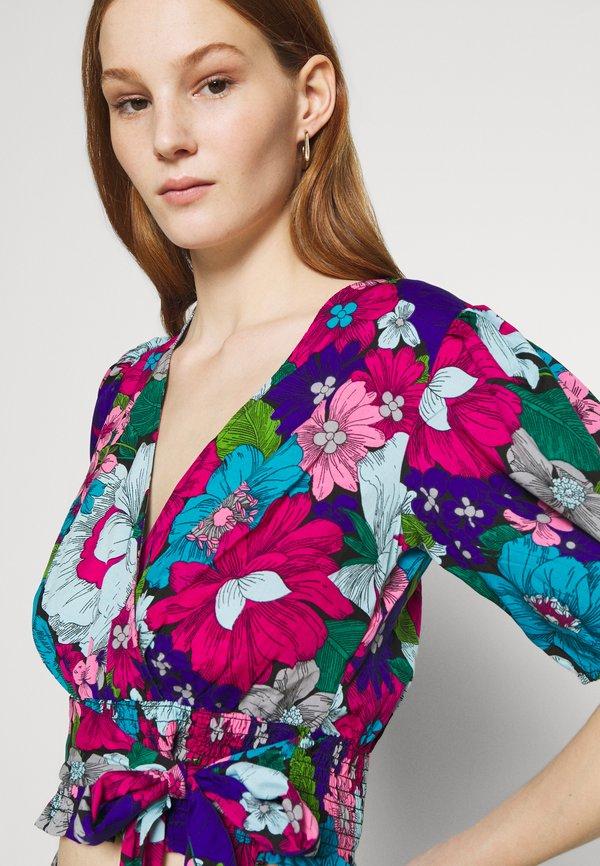 Miss Selfridge FLORAL WRAP BLOUSE - Bluzka - blue/ pink/niebieski PAYG
