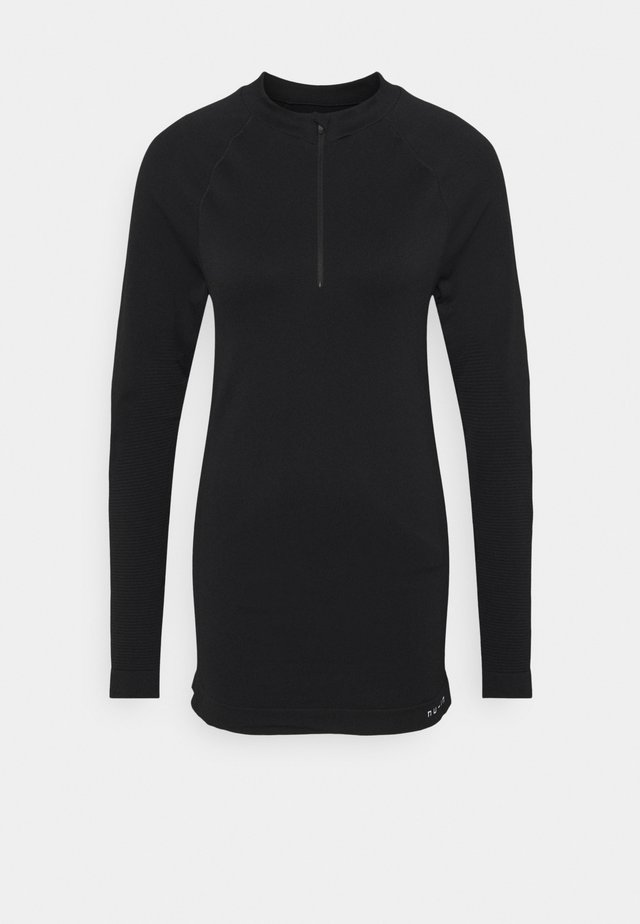 HALF ZIP LONG SLEEVE  - T-shirt à manches longues - black