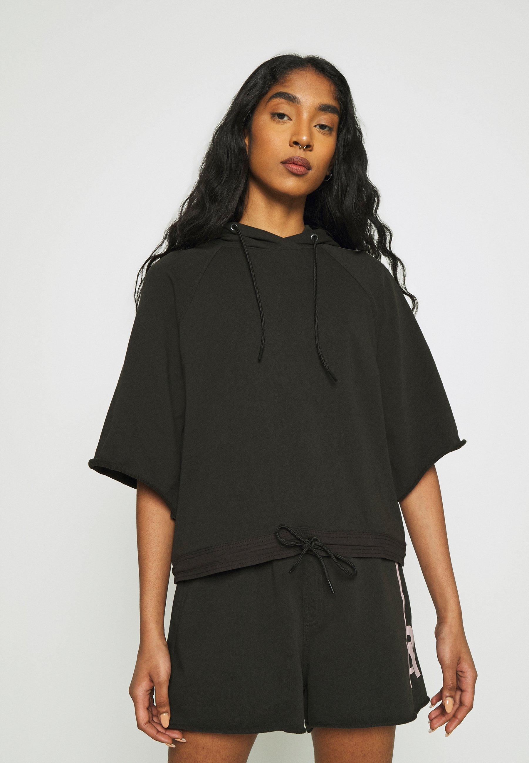Women STRIPE RAW CROPPED HOODIE - Sweatshirt