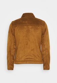 Abercrombie & Fitch - SUEDE ZIP TRUCKER  - Faux leather jacket - cognac - 1