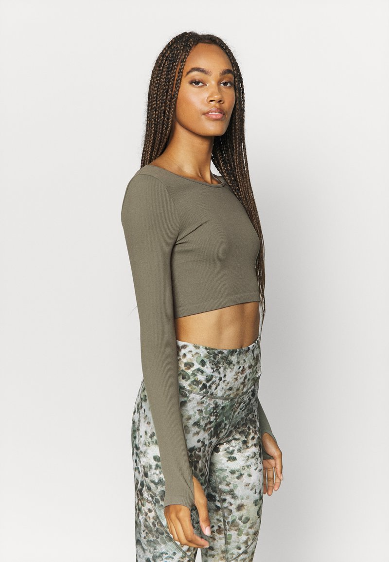 Cotton On Body - LIFESTYLE SEAMLESS LONG SLEEVE CROP - Langærmede T-shirts - steely shadow