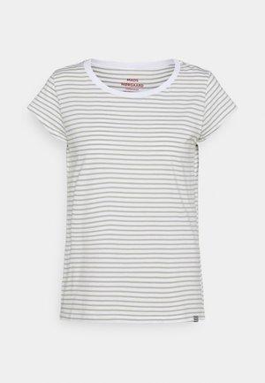 FAVORITE STRIPE TEASY - Print T-shirt - white/light army
