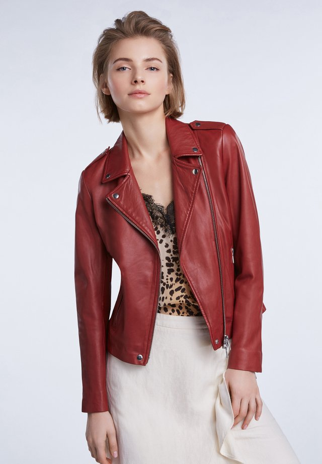 THE TYLER - Leather jacket - terracotta