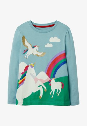 MIT SZENENMOTIV - Long sleeved top - eisblau, einhorn