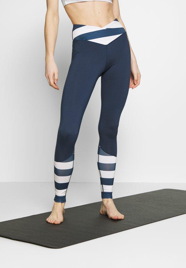 LEGGINGS WITH STRIPED PANELS - Leggings - blue