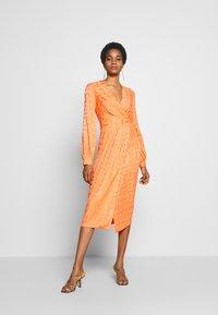 Closet - PLEATED WRAP DRESS - Day dress - orange - 4