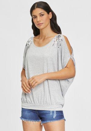 Print T-shirt - grau-meliert