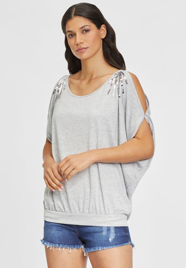 T-shirt con stampa - grau-meliert