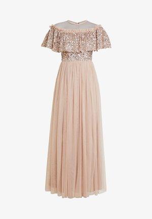 SHEER YOKE EMBELLISHED DOUBLE RUFFLE DRESS - Společenské šaty - taupe blush