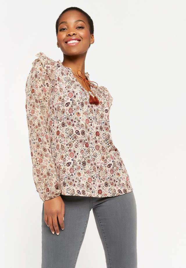FLOWER PRINT - Long sleeved top - beige