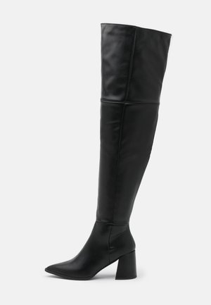 LOW BLOCK HEEL BOOTS - Over-the-knee boots - black