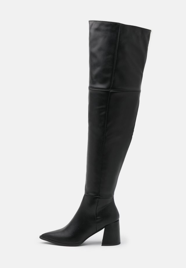 LOW BLOCK HEEL BOOTS - Overknee laarzen - black