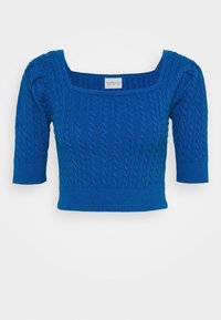Glamorous - CARE CABLE CROP TOP WITH SHORT SLEEVES AND SQUARE NECKLINE - Blouse - petrol blue - 0
